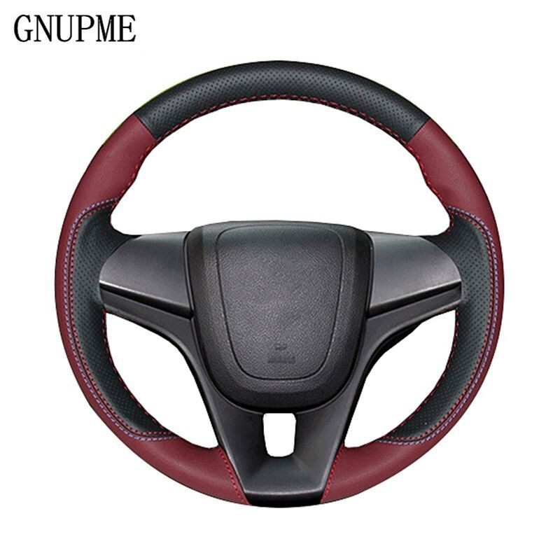 GNUPME DIY Customized Name Hand-Stitched Black Genuine Leather Car Steering Wheel Cover for Chevrolet Cruze Captiva Malibu XL