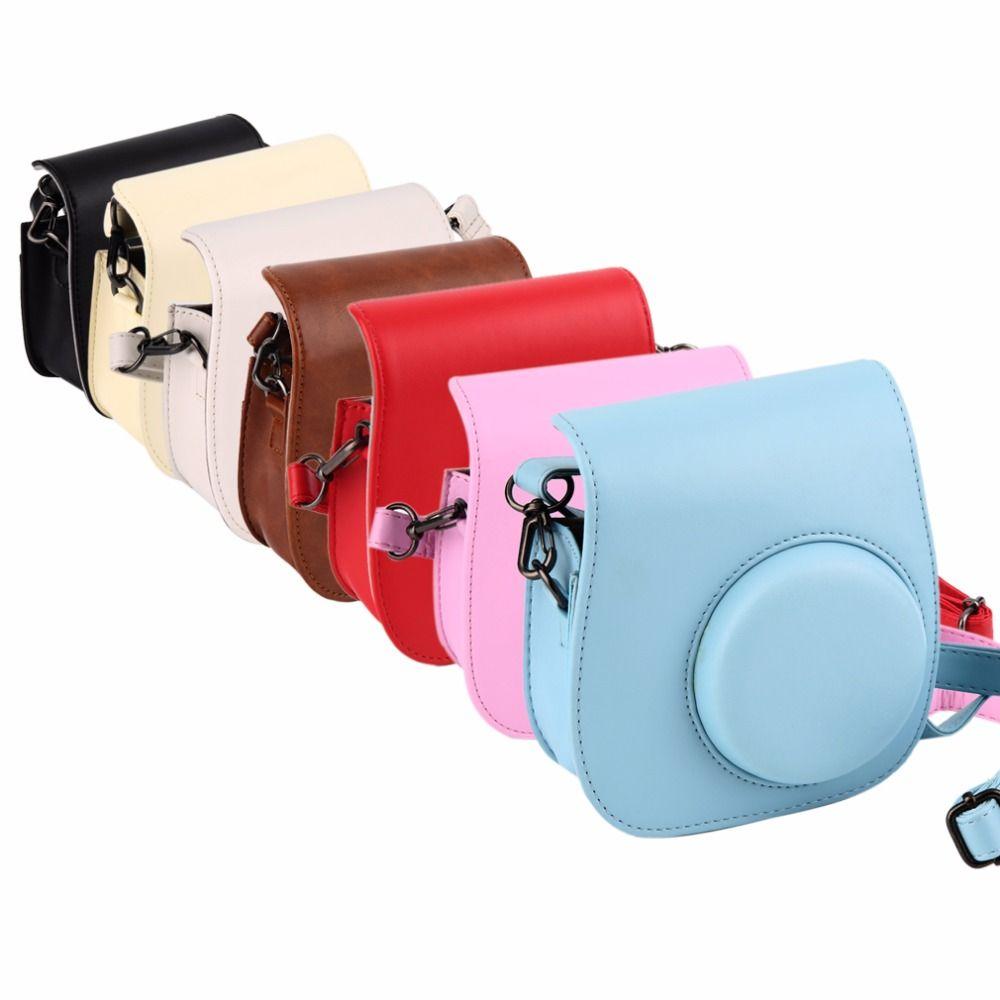 Cuero Correas para cámara bolsa caso cubierta de bolsa protector para cámara fotográfica Polaroid para Fuji Fujifilm instax mini 8