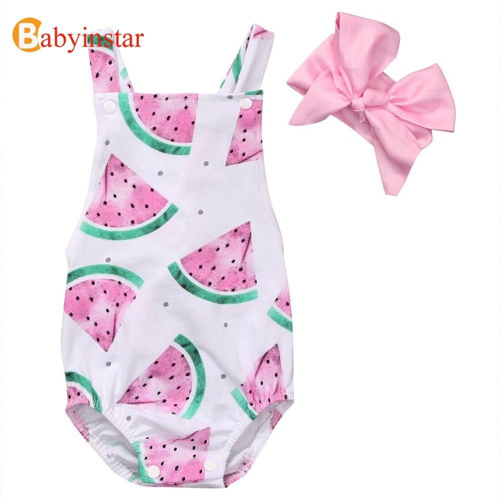 Babyinstar Bébé Barboteuses pour Les Filles Bambin Filles Vêtements Pastèque Dos Nu Combinaison + Bandeau 2 pièces Tenues Sunsuit pour Filles