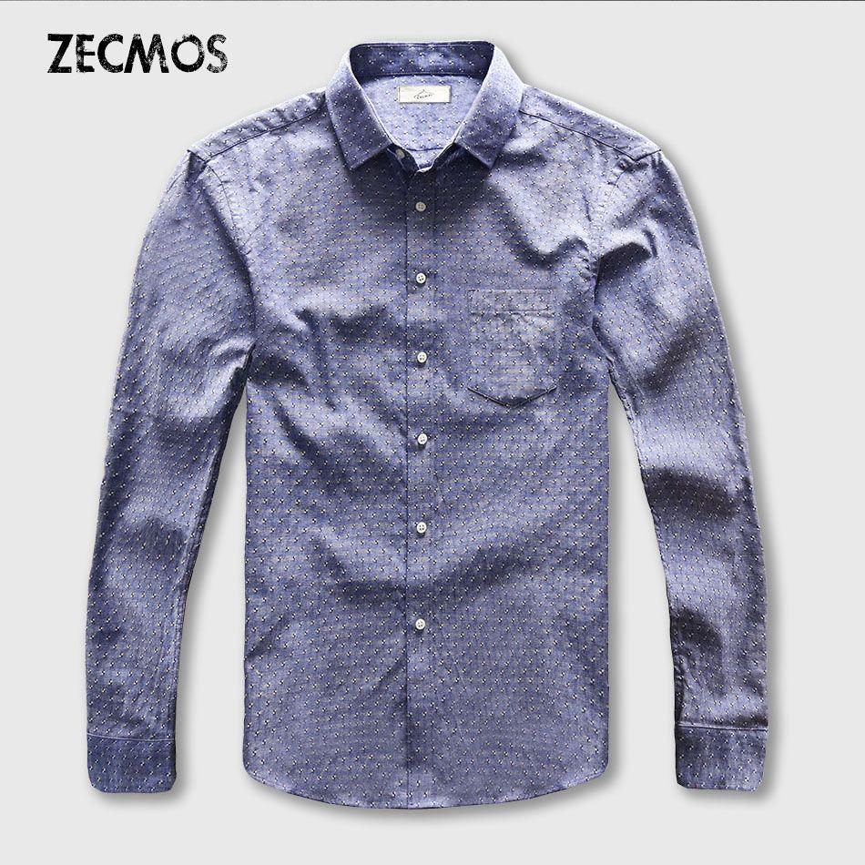 Point chemise hommes Oxford robe décontracté homme coton lin à manches longues affaires sociales Slim Fit