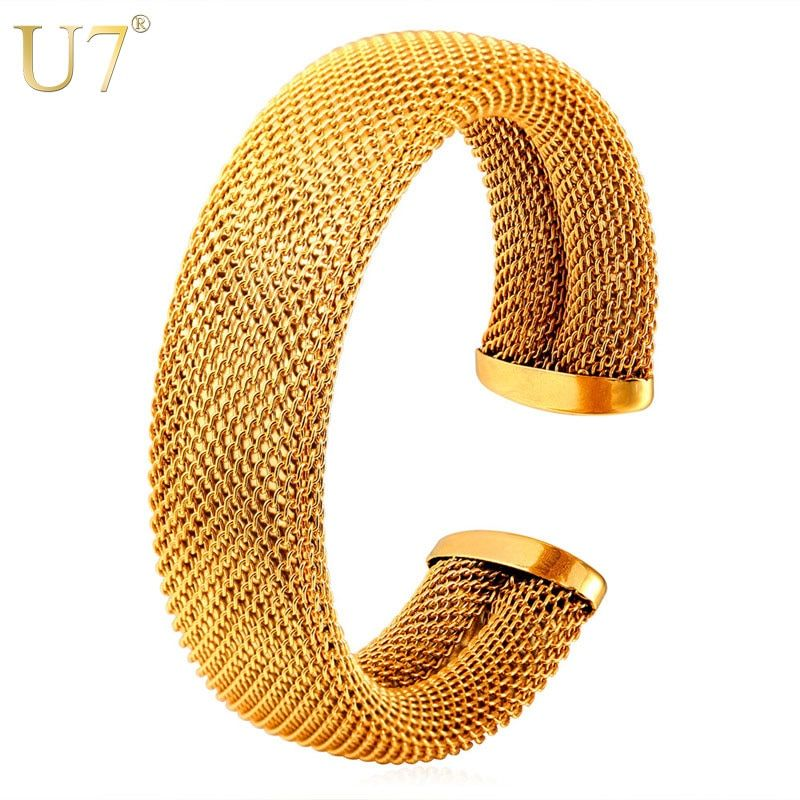 U7 Stainless Steel Bracelets & Bangles Gold Color Wholesale Big Mesh Cuff Bracelet For Men Party Jewelry Party H777