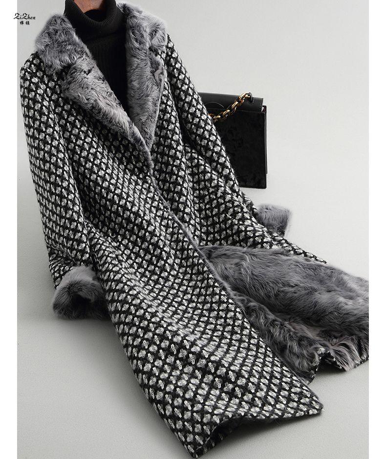 ZiZhen Winter Women's Long Cashmere Natural Wool Coat Real Lamb Fur Liner Cuff Overcoat Pockets Turn-down Collar 180709-1