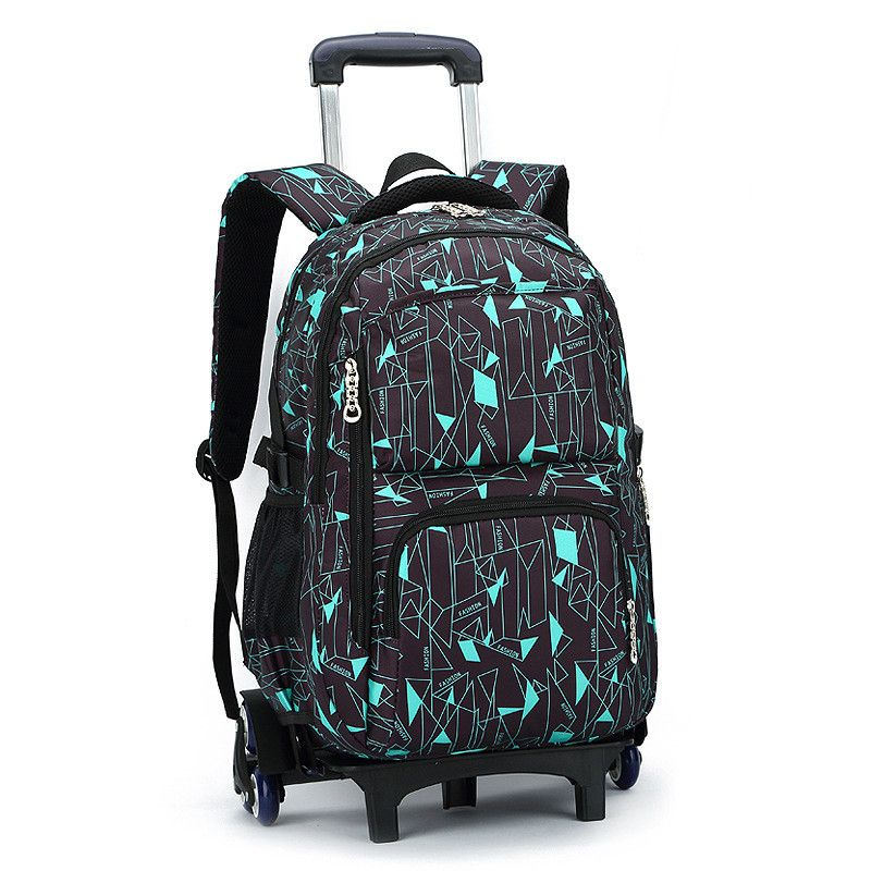 Latest Removable <font><b>Children</b></font> School Bags With 3 Wheels Stairs Kids boys girls Trolley Schoolbag Luggage Book Bags Wheeled Backpack