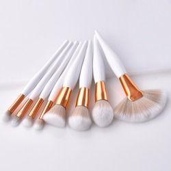 8/9 PCS/Set Makeup Brush Kit Sintetis Lembut Kepala Pegangan Kayu Kuas Kipas Datar Brush Set untuk Wanita Eyeshadow wajah Membuat