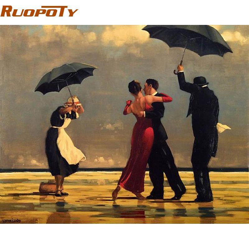 RUOPOTY cadre Tango peinture à la main par numéros Europe peint à la main peinture à l'huile sur toile mur Art photo pour la décoration de la chambre