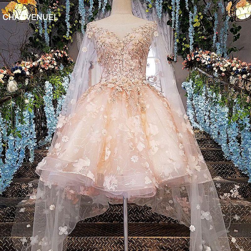 LS00145 abendkleid kurze 2019 spitze zipper zurück robe courte de soiree rosa kleid lange party mit langen umhang cocktail stil