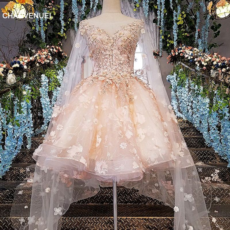 LS00145 evening dress short 2018 lace zipper back robe courte de soiree pink dress long party with long cape real photos