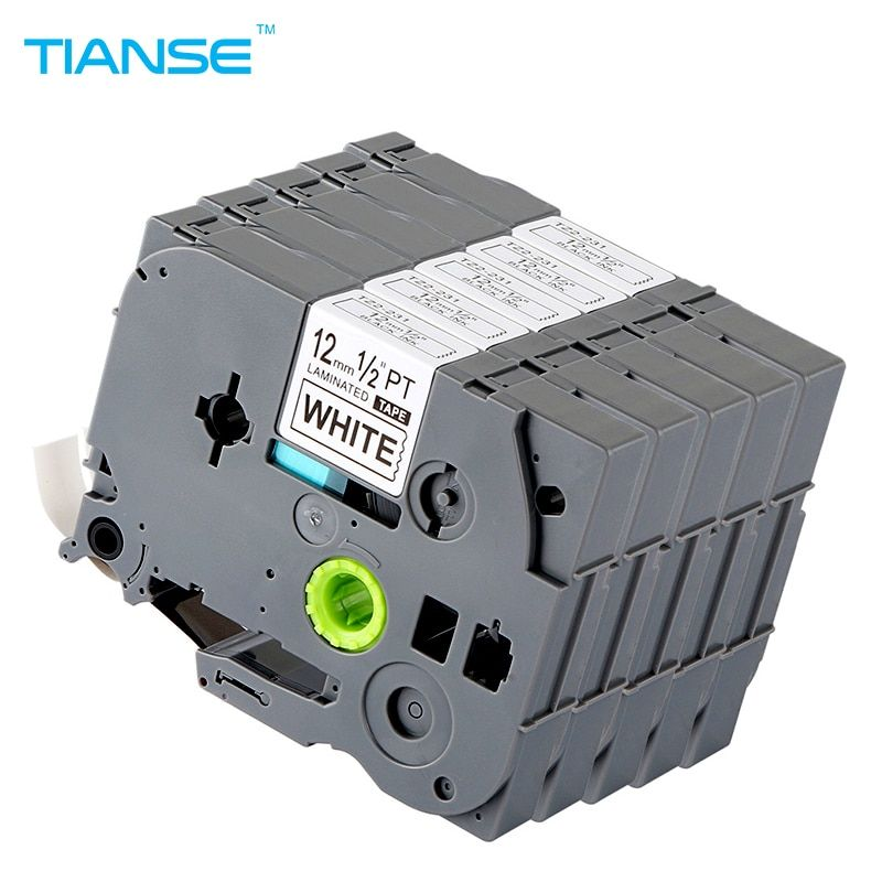 TIANSE 5pcs tze231 tz231 for Brother P-touch Printer label tape tze-231 tz-231 <font><b>12mm</b></font> Black on White tz tze 231 laminated ribbons