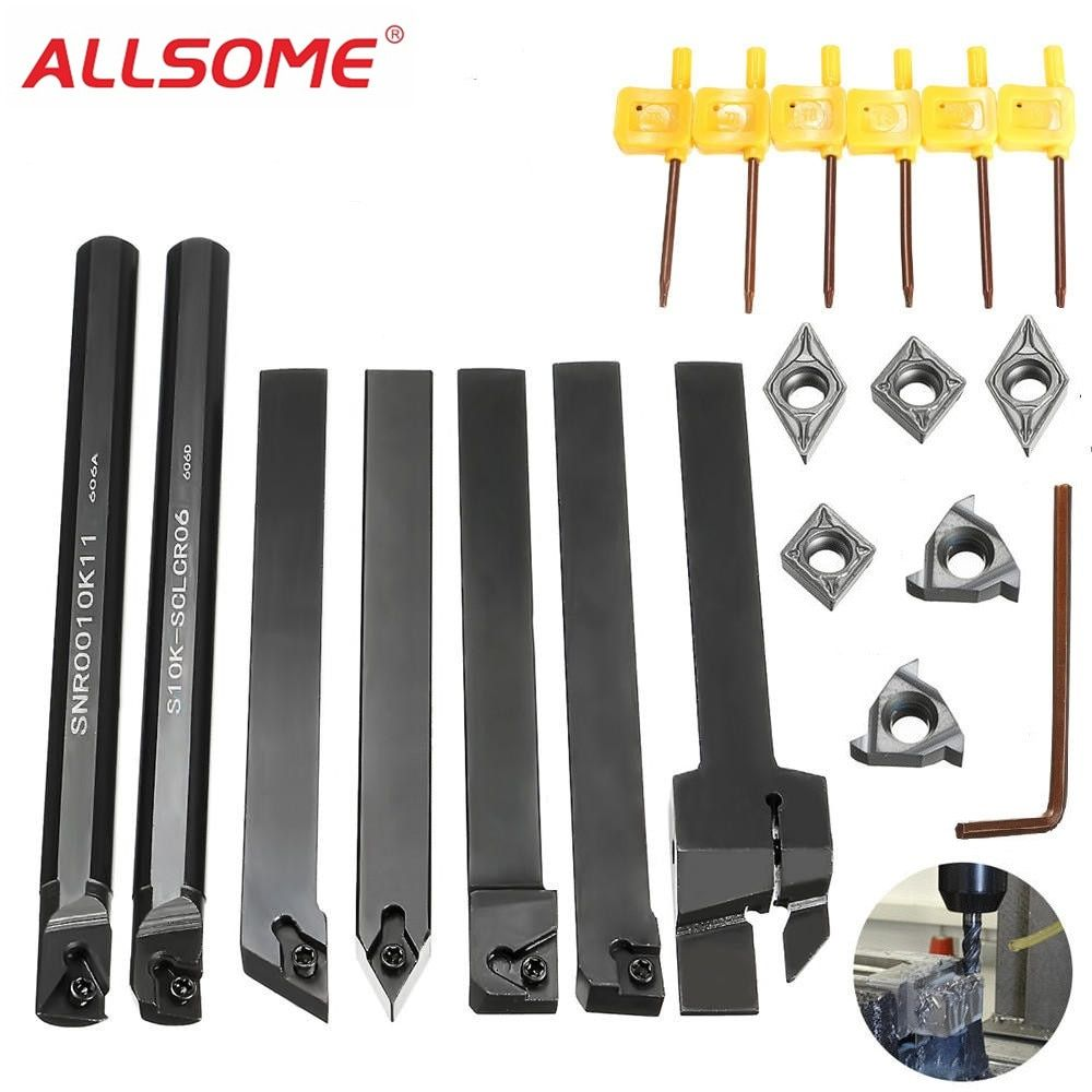 ALLSOME 7pcs 10mm Shank Lathe Turning Tool Holder Boring Bar with Carbide Inserts MGEHR1010-2/SER1010H11/SCLCR1010H06