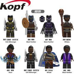 Penjualan tunggal Super Heroes Angka Hitam Panther M'baku Shuri Eric Killmonger Bata Bangunan blok Anak-anak Terbaik Hadiah Mainan X0191