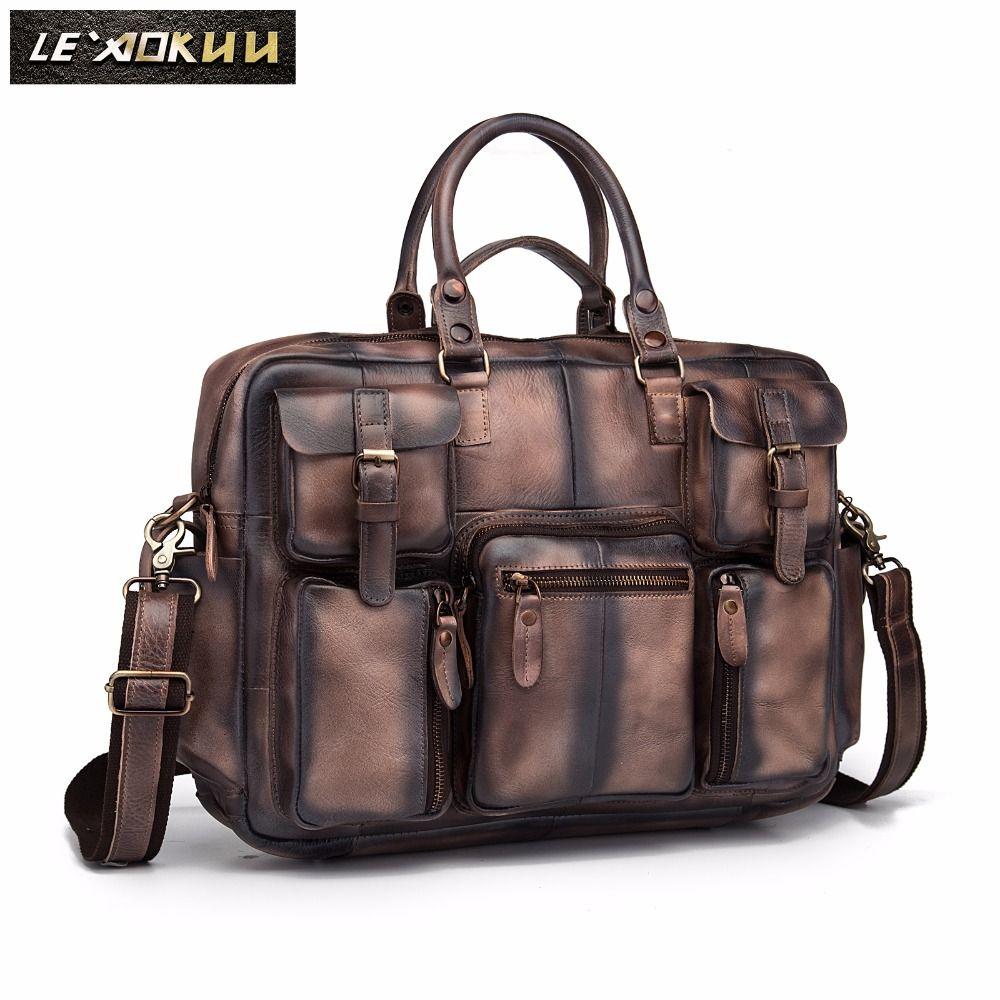 Retro crazy horse leather Men Fashion Handbag Business Briefcase Commercia Document Laptop Case Male Attache Portfolio Bag 3061