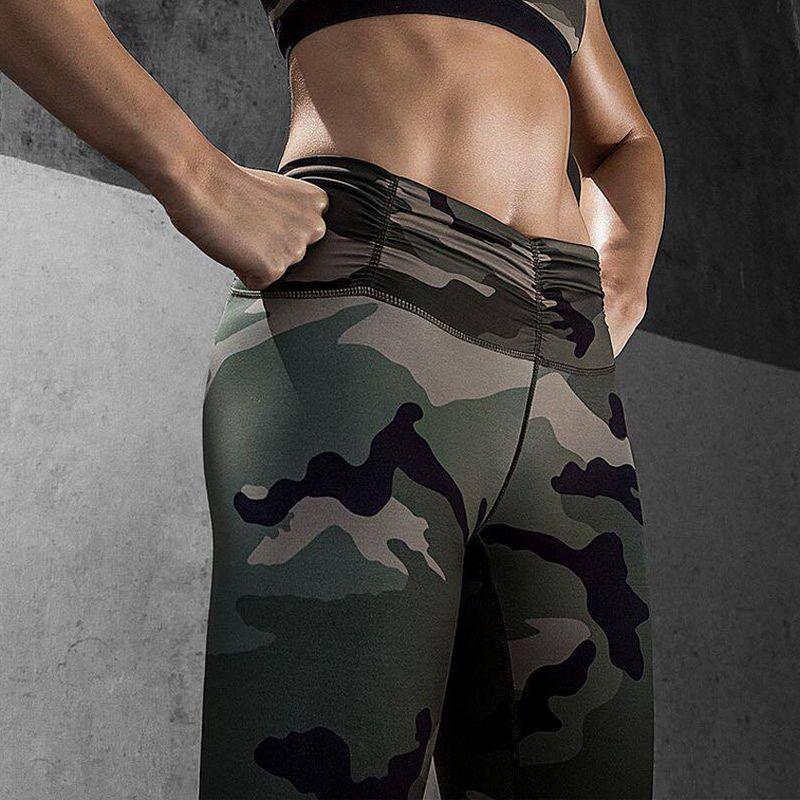 L'UE Femmes Camo Pantalon Femmes De Yoga De Yoga Leggings Camouflage Taille Haute Collants Running Femmes Haute Qualité Fitness Sport Leggings