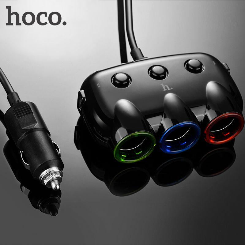 HOCO Trois en Un Chargeur De Voiture Double Port USB Double pour iPhone iPad Samsung Xiaomi Téléphone Tee Adaptateur 2 USB 3.1A Voiture-chargeur