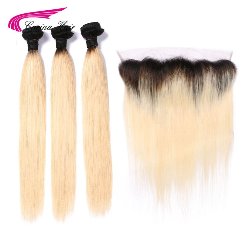 Carina Ombre Blonde Color Hair Wefts 3 Bundle with 13*4 Ear to Ear Lace Frontal Malaysian Remy Human Hair 1b613 Ombre Color Hair