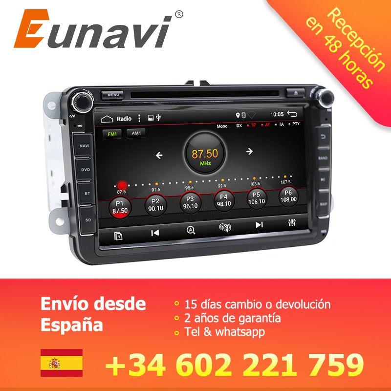 Eunavi 2 Din 8'' Android 7.1 8.1 car dvd radio player gps navi for Polo Jetta Tiguan VW passat b6 cc fabia mirror link in dash