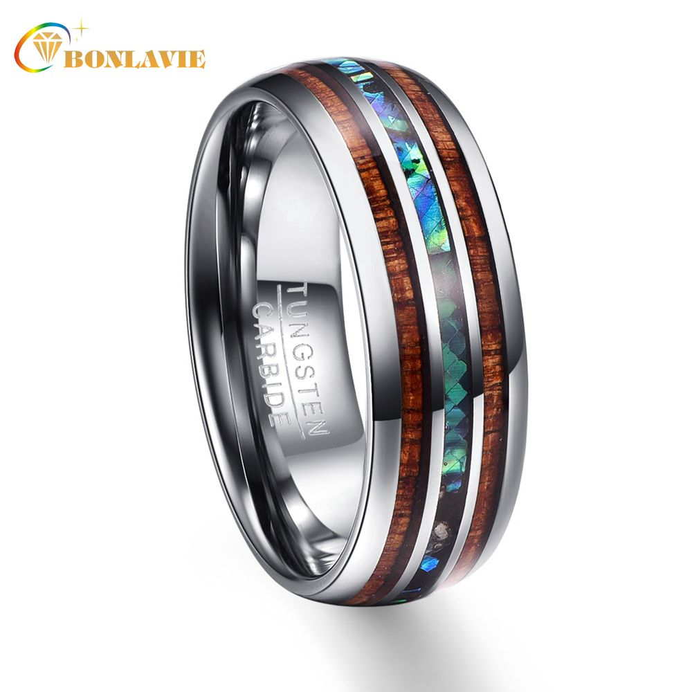 Wood Grain Polishing Men Rings 100% Tungsten Carbide Wedding Bands Multi-size Anillos para hombres Pierscienie Wholesale