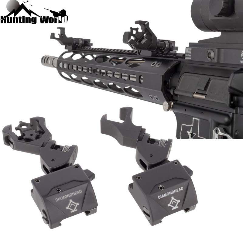 Tactical 45 Grad Folding Offset Flip Up Backup Vorne und Hinten Diamant Blende Eisen Sight Set für Jagd Airsoft CQB AR15 AR10