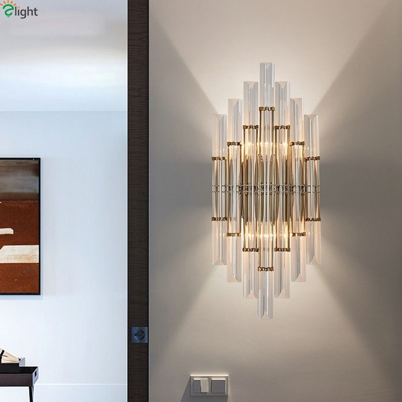 Modern Lustre Crystal Led Wall Lamp Gold Metal Bedroom Led Wall Lights Fixtures Living Room Led Wall Light Corridor Wall Sconce