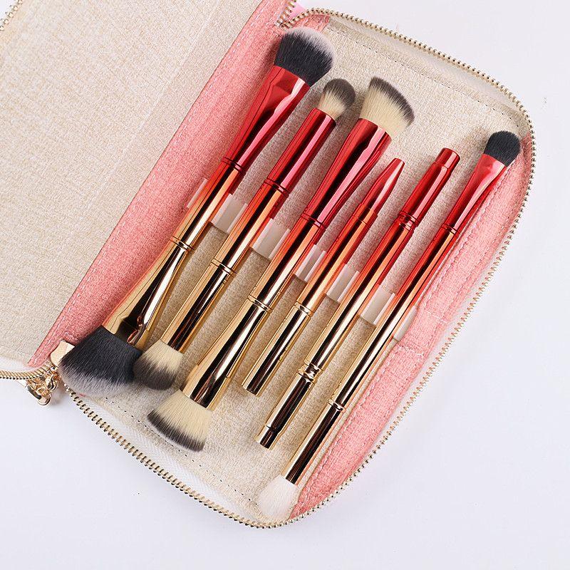 Portable 6 pcs Double Têtes de Brosse Brosses de Maquillage Professionnel Cosmétiques Brosse Kit avec Sac Or et Rouge