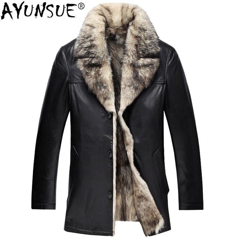 AYUNSUE Genuine Leather Jacket Men Winter Real Fur Coat Wolf Fur Liner Sheepskin Coat for Men Leather Jackets 2018 KJ1165