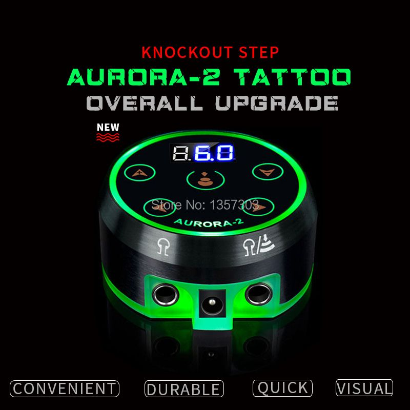 2017 New Professional Mini Critical AURORA LCD Tattoo Power Supply with Power Adaptor for Coil & Rotary Tattoo Machines
