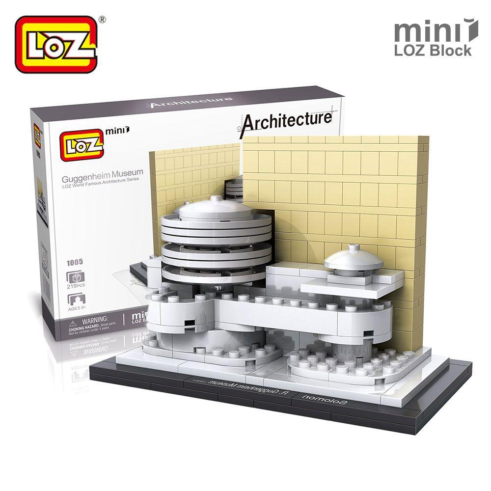 Monsieur. Froger LOZ Architecture Musée Guggenheim Maison DIY Modèle Kits Mini Bloc Forge World Ville Modèles Blocs de Construction Jouet briques