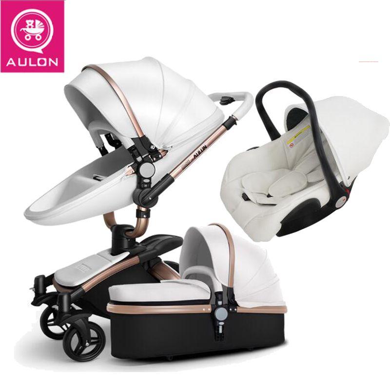 AULON Baby kinderwagen 3 in 1 und 2 in 1 kinderwagen künstliche leder kann sitzen und liegen vier jahreszeiten winter russland Kostenloser Versand