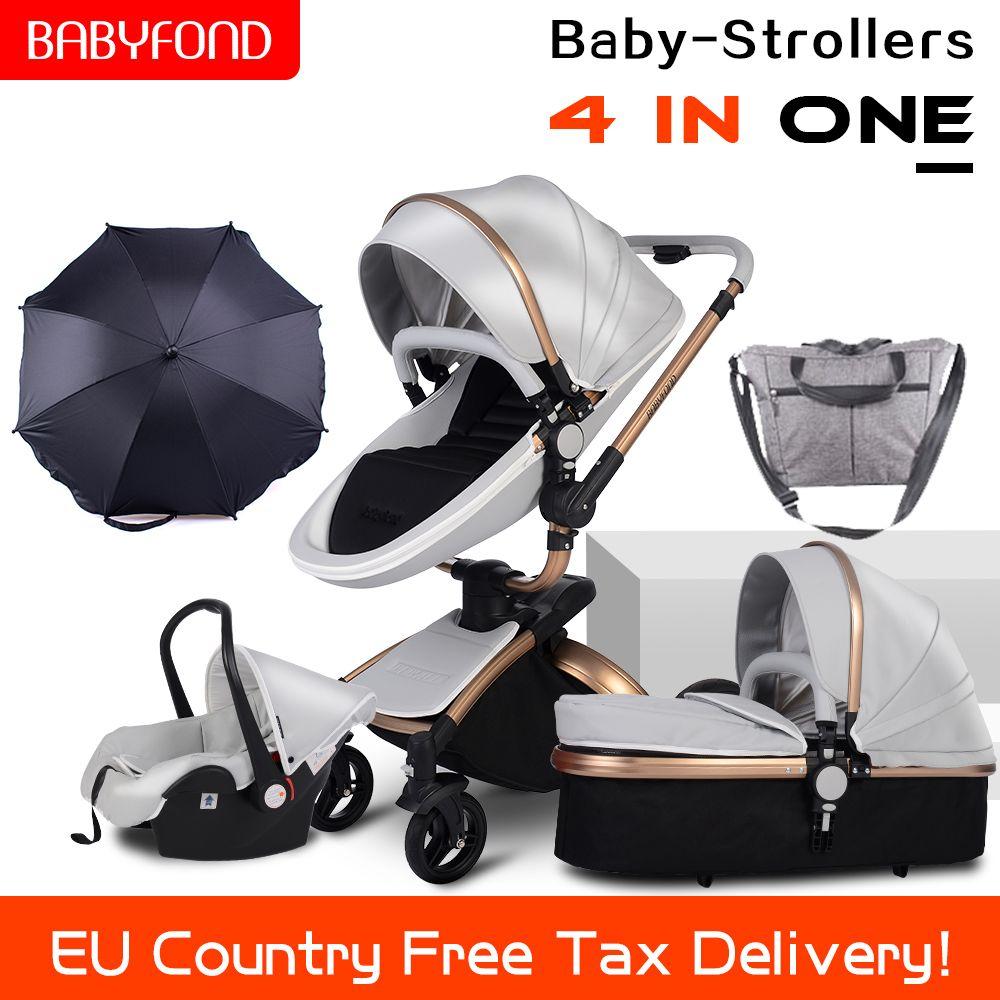 CE standard luxus hoch landschaft kinderwagen gold rahmen 0-3 jahre alt baby 4 in 1 baby kinderwagen mit regenschirm und taschen 8 geschenke