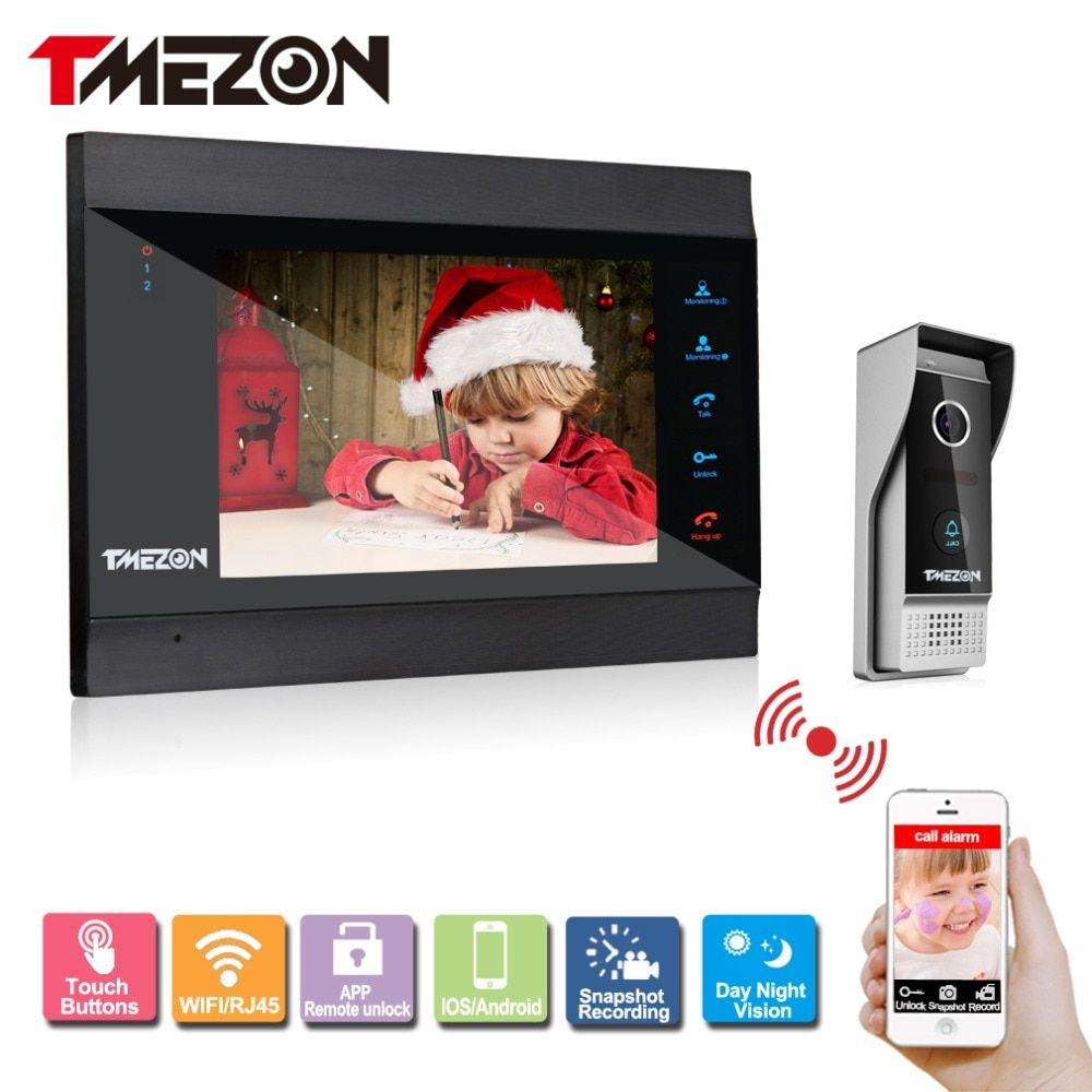 Tmezon Smart IP Video Door Phone 7 TFT Monitor 1200TVL Camera Intercom Security Doorbell System Unlock Via Monitor and Phone