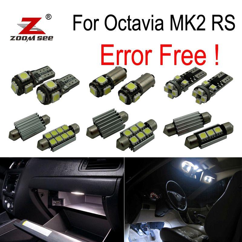 12pcs license plate lamp LED bulb Interior dome Light Kit for Skoda Octavia 2 saloon MK2 MK II sedan RS 1Z3 (2005-2012)