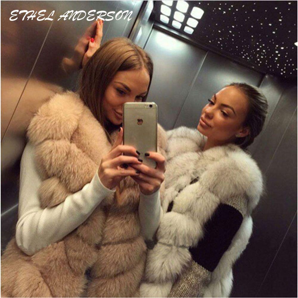 100% Real Fox Fur Vest Natural Whole Fox Fur Vest Gilet <font><b>Women</b></font> Regular Standard Covered Button Design Jackets Coat Plus Size 3XL