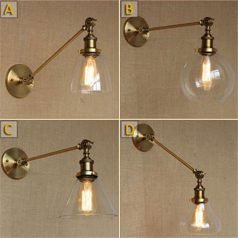 Vintage L30cm single adjustable arm brass copper wall lights metal iron umbrella Wall Sconce Abajur Luminaria glass wall lamp