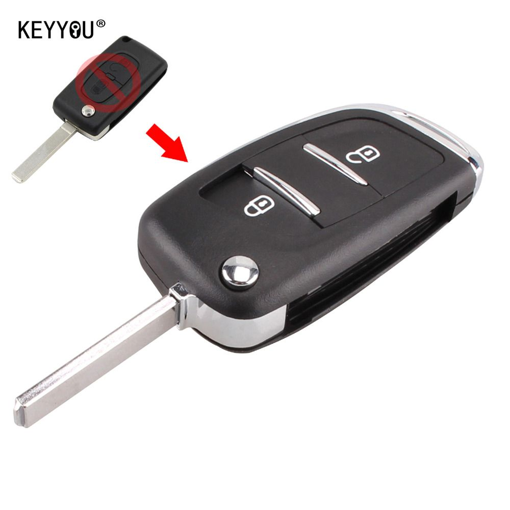 KEYYOU 2 Tasten Geändert Flip Folding Remote Key Shell Fall Für Peugeot 207 307 308 407 807 Freies Verschiffen