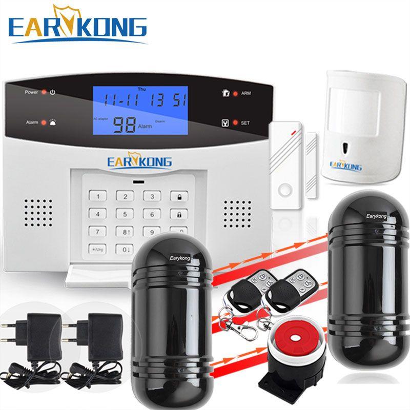 Home Burglar Security PSTN & GSM Alarm System 850/900/1800/1900 Wireless Signaling English/Russian/Spanish/French/Italian