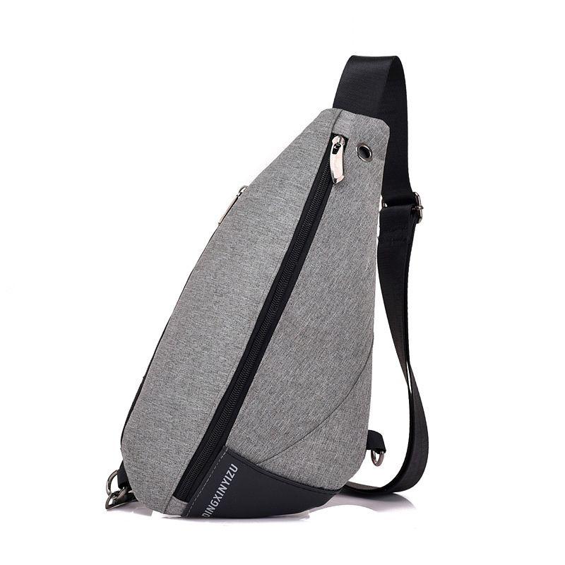 Canva zipper solid chest bag Casual men's bag Single Silt pocket bags  KKZ