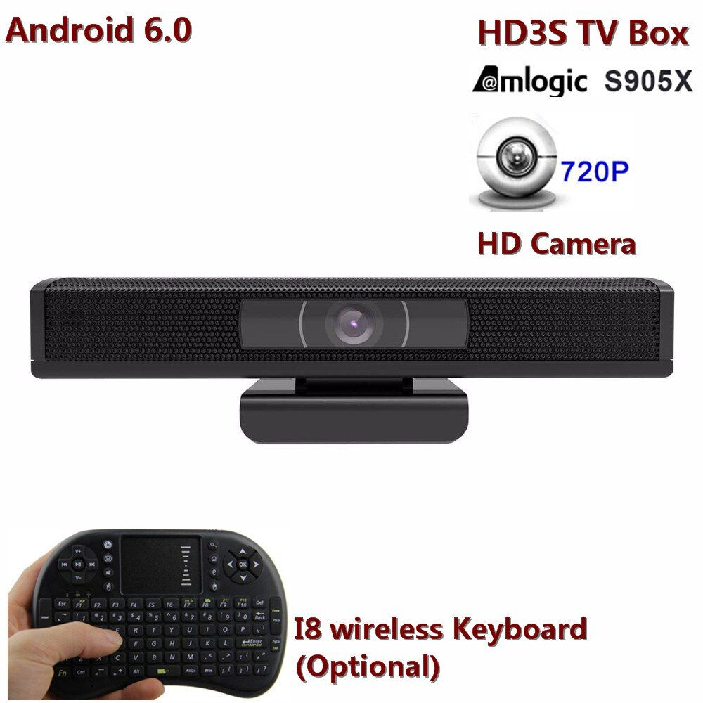HD3S Android TV Box Eingebaute 1,0 HD Kamera H.265, 4 Karat, 1080 p weitblick 110 winkel Amlogic S905X Quad Core 1G/8G TV Box als HD23