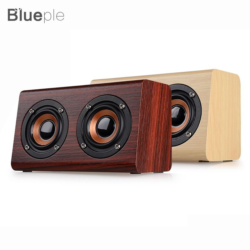 Blueple W7 <font><b>Retro</b></font> Wood HIFI 3D Dual Loudspeakers Bluetooth Wireless Speaker With Hands-free TF Card AUX IN for phones