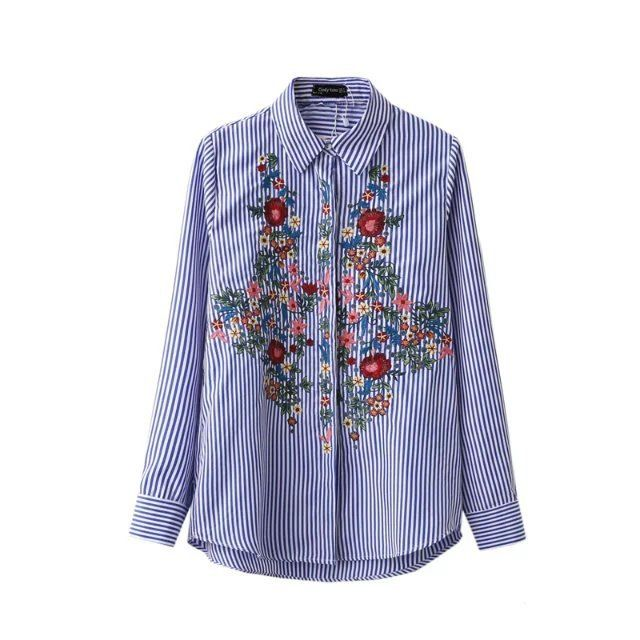 2017 New Arrival Women Tunic Fashion Blouse Shirt Embroidery Floral Long Sleeve Blue White Striped Shirts Tops Female Clothing