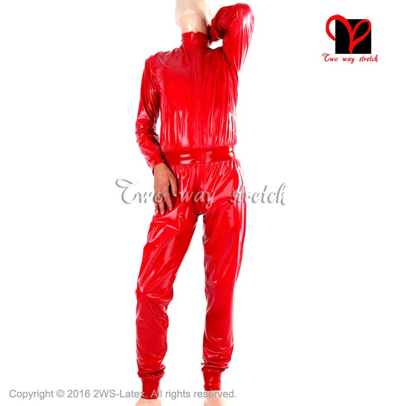 Red Sexy Loose Latex Catsuit with belt Front zip Rubber zentai Leotard suit long sleeves unitard body stockings jumper LT-089
