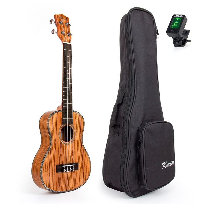 Kmise Travel Ukulele Tenor Thin Body Ukelele Kit Zebra Uke Hawaii Guitar 26 inch 18 Fret with Bag and Tuner