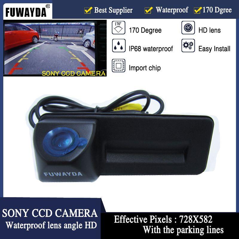 FUWAYDA SONY CCD poignée de coffre de voiture caméra de recul de stationnement pour Skoda Roomster Fabia Octavia Yeti superbe pour Audi A1 HD