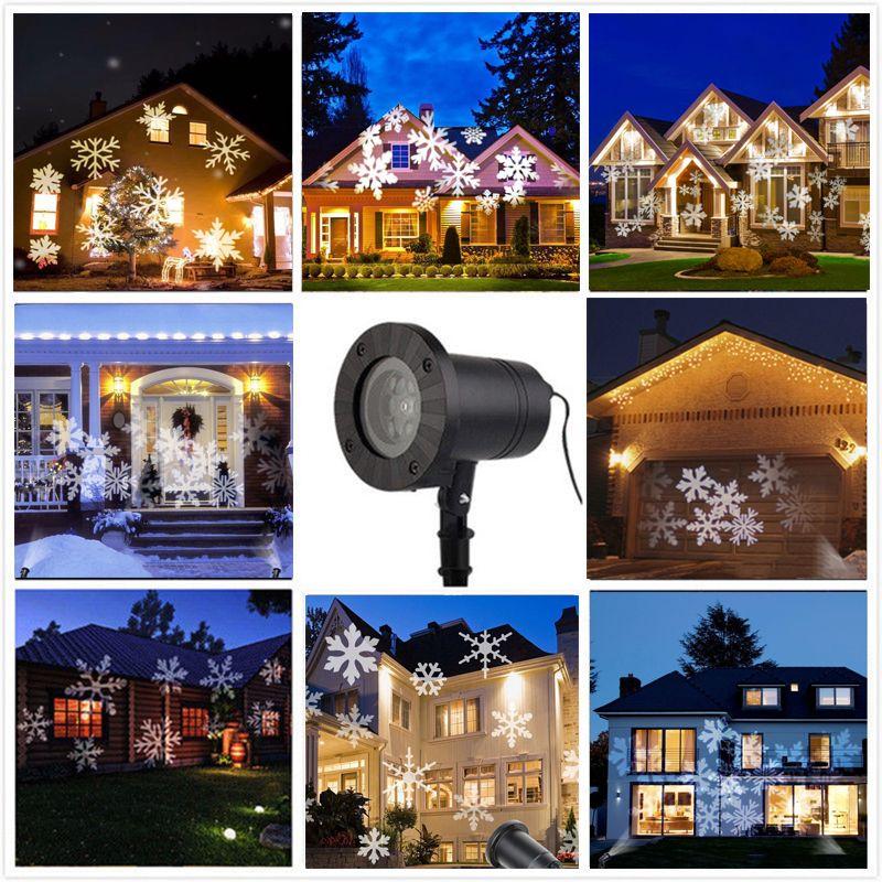 Водонепроницаемый перемещение снег лазерный проектор Лампы для мотоциклов Снежинка свет этапа для Рождество новый год свет лампы сад
