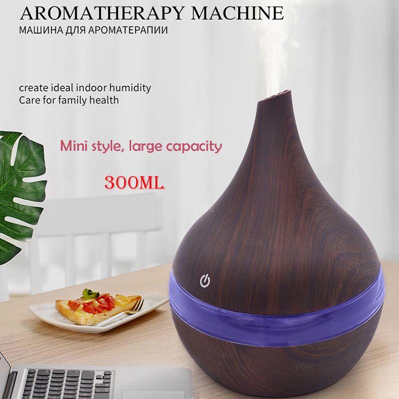 Humidificateur d'air ultrasonique en bois de diffuseur d'air d'arome électrique d'usb 300 ml fabricant frais de brume d'aromathérapie d'huile essentielle pour la maison