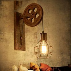 Loft rétro lampe créative de levage poulie mur lumière salle à manger restaurant allée couloir pub café mur soutien-gorge lampe applique murale