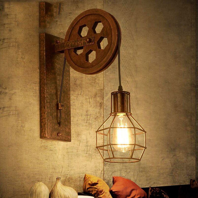 Loft retro lamp creative lifting pulley wall light dining room restaurant aisle corridor pub cafe wall lamp bra wall sconce
