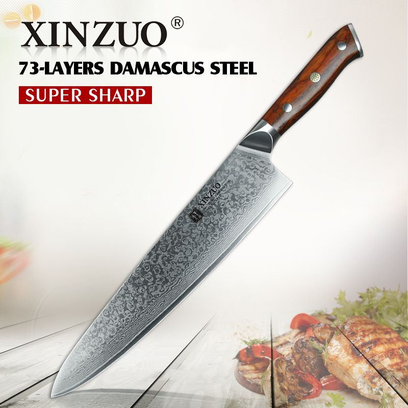 XINZUO 10'' inch Damascus Chef Knife Japanese Steel Kitchen Knives Professional Gyuto Knife Kitchen Cleaver Meat Vegetable Tools