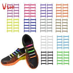 16 unids/lote creativo silicona cordones hombres mujeres sin cordones elásticos de moda entrenadores zapatos