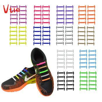 16pcs/lot Creative Silicone Shoelaces Men Women No-Tie Shoelaces Fashionable Elastic Trainers Shoe Laces