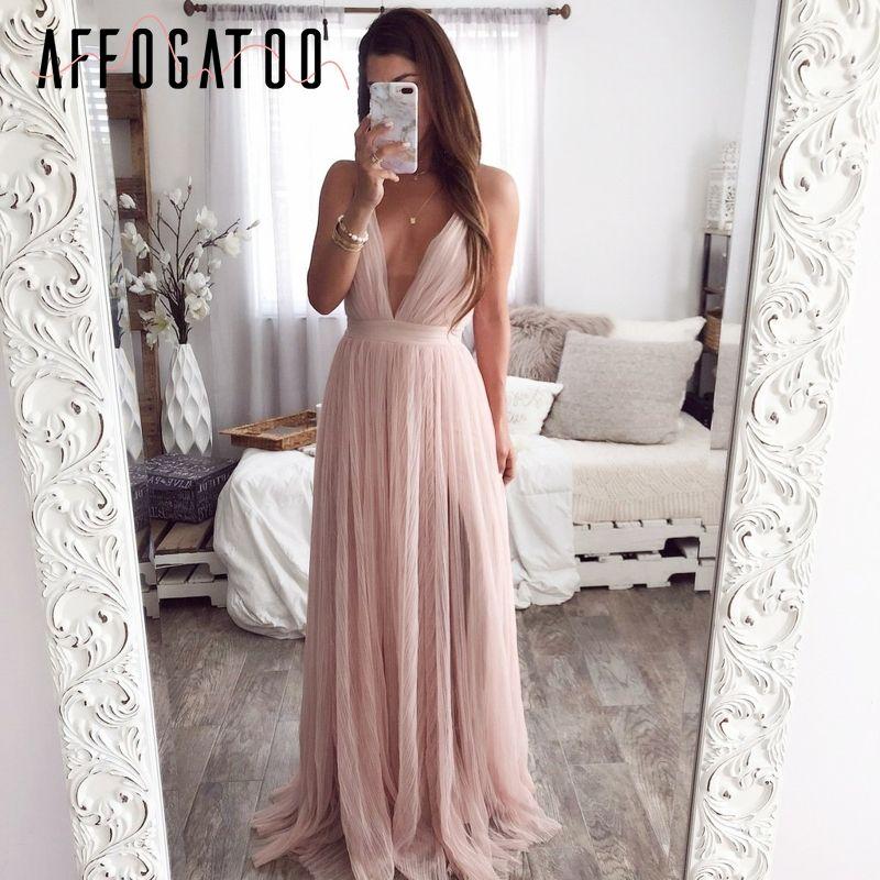 Affogatoo Sexy profonde col en v dos nu été rose robe femmes élégant dentelle soirée maxi robe vacances longue fête robe dames 2019