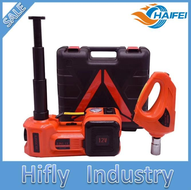 Upgraded DC12V 5ton 3 in 1 Electric Hydraulic Floor Jack Tire Inflator Pump and LED Flashlight Set with Electric Impact Wrench